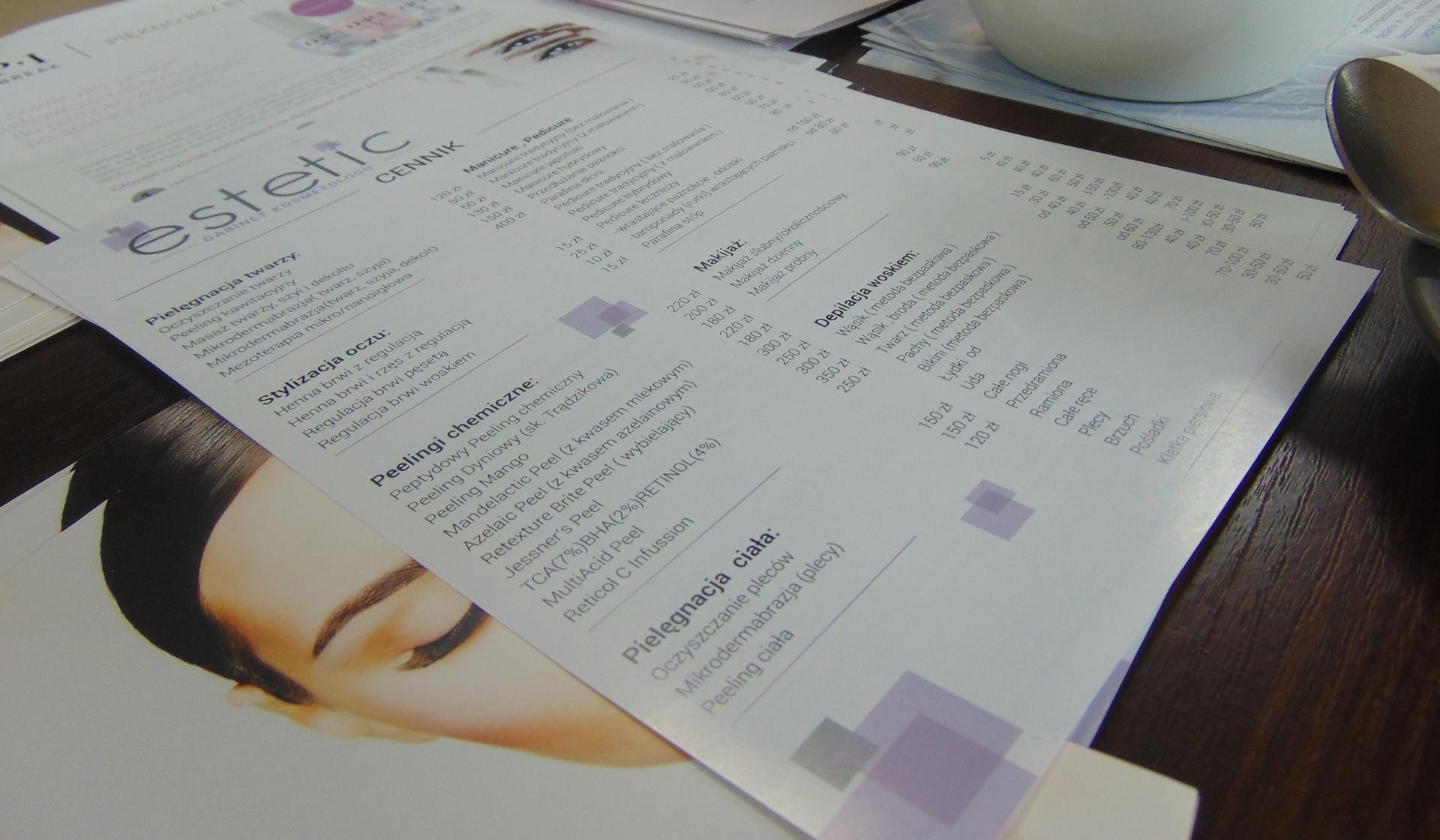 cennik usług estetic salon kosmetyczny